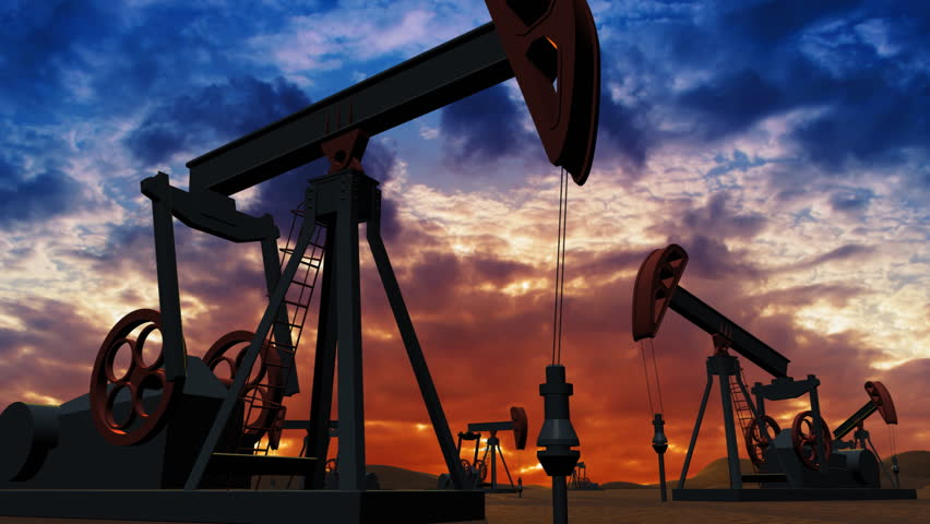 Oil pumps at sunset background - HD stock footage clip