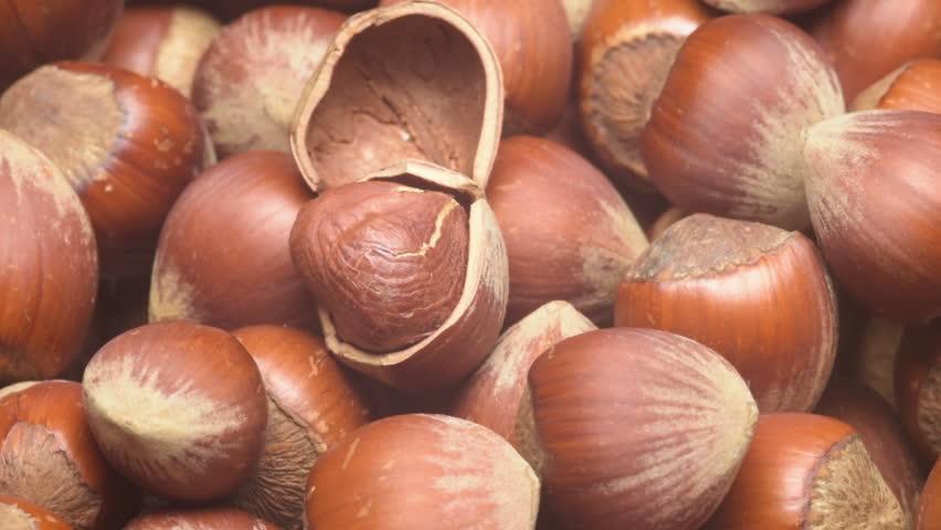 A pile of shelled hazelnuts rotating smoothly. Tripod used under studio lighting.