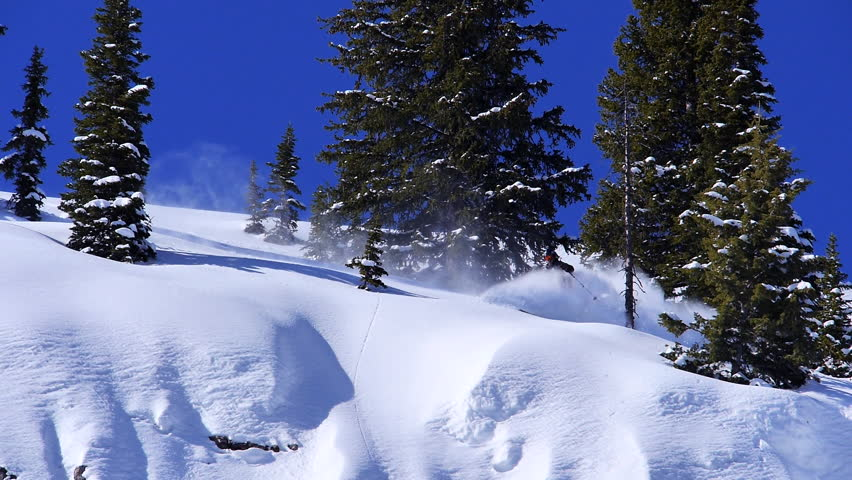 Washington, Utah, Alaska, Oregon, Wyoming, 2012. A skier ski's down a steep slope in fast speed on a sunny day, mountain surrounded by snow covered trees