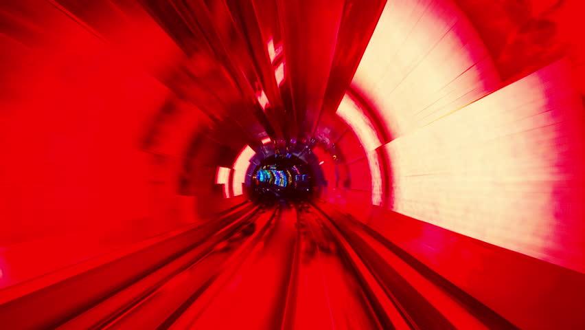 Shanghai, China through the Bund Sightseeing Tunnel.
