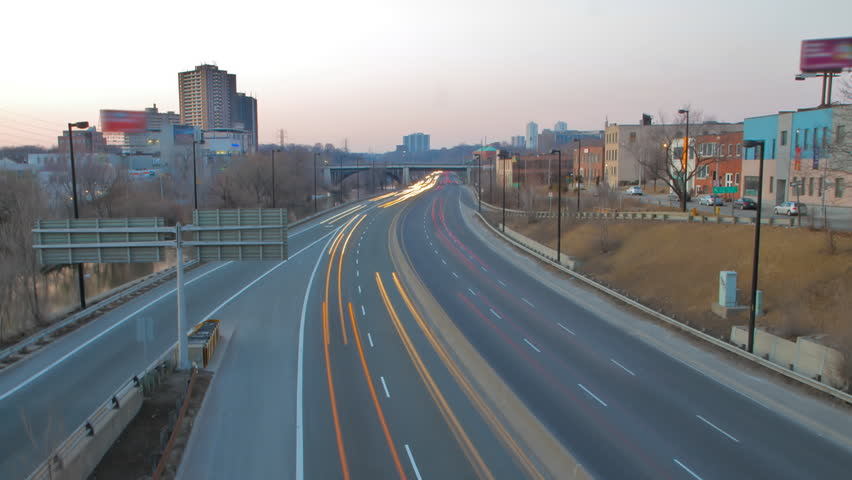 Timelapse of Highway from daytime to night time - HD stock footage clip