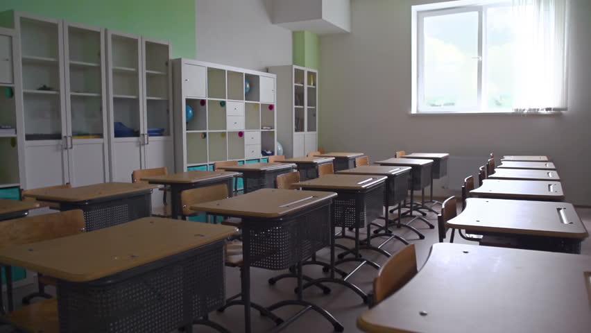 High School Classroom Interior Design ~ Empty desks in school classroom k stock footage video