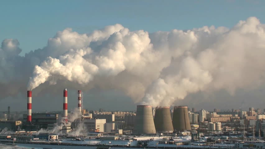 smoking power plant - HD stock footage clip