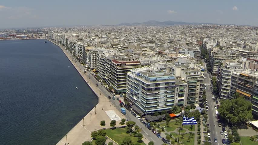 Aerial view of the White tower and Thessaloniki city ,Greece