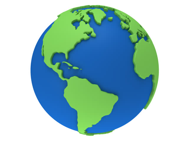 Concept Of A Green Earth Spinning 360 Degrees On A White ...