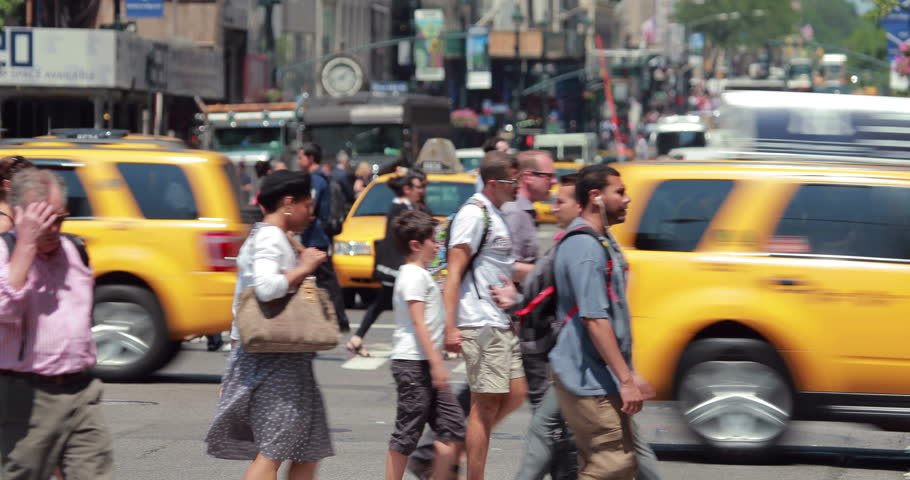 NEW YORK - CIRCA JULY 2014: Crowd of people walking crossing street in Manhattan | Shutterstock HD Video #6900592