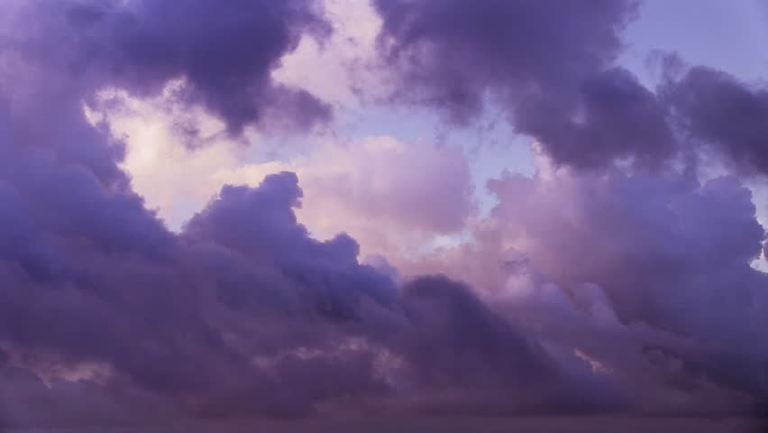 Dark Pink Purple Clouds Leaving A Clear Sky After The Rain Stock Footage Video 6903454 ...