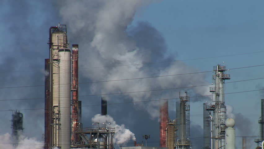 Refinery Smokestacks - HD stock video clip