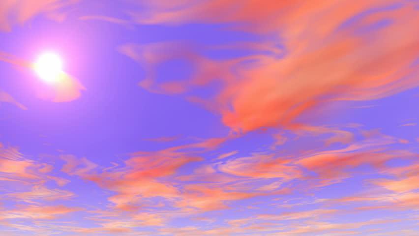 sky sunset orange clouds blue sky 4k - 4K stock footage clip