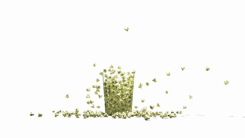 Popcorn overflowing a glass box