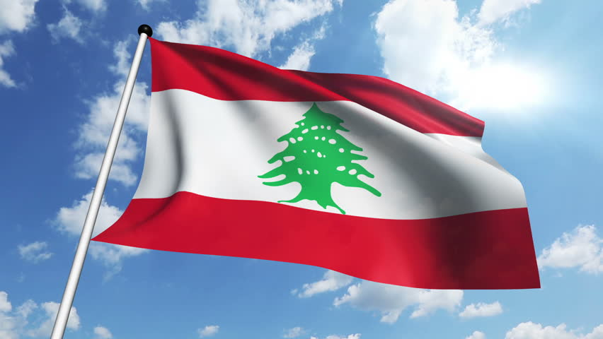 Lebanon Flag Waving Against Time-lapse Clouds Background ...