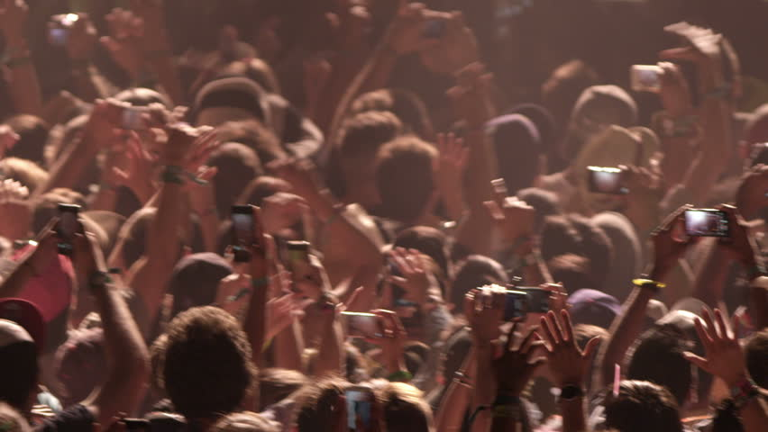 Crowd at Concert - Fans Cheering in Audience with Smartphones in Music Show at Coachella in Slow Motion | Shutterstock HD Video #6956716