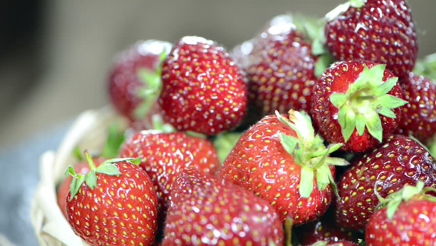 Fresh Strawberries (not loopable) - HD stock video clip