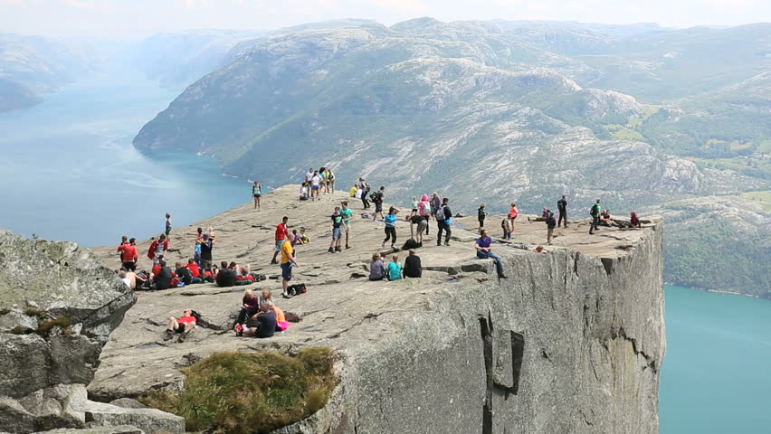 Preacher Pulpit Rock at Lysefjord Norway. Side view