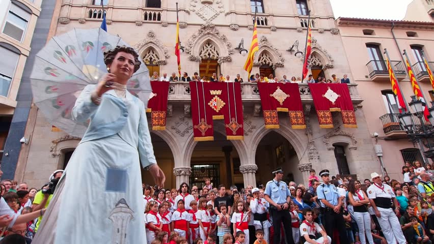 TERRASSA, SPAIN - JUNE 28, 2013: Festa Mayor de Terrassa 2013. Big Catalan Party with many Traditional Parades and Shows. - HD stock video clip