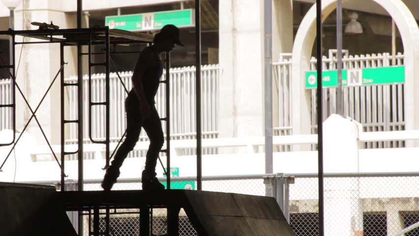 Thai inline skater at skatepark, Bangkok - 2 - HD stock video clip