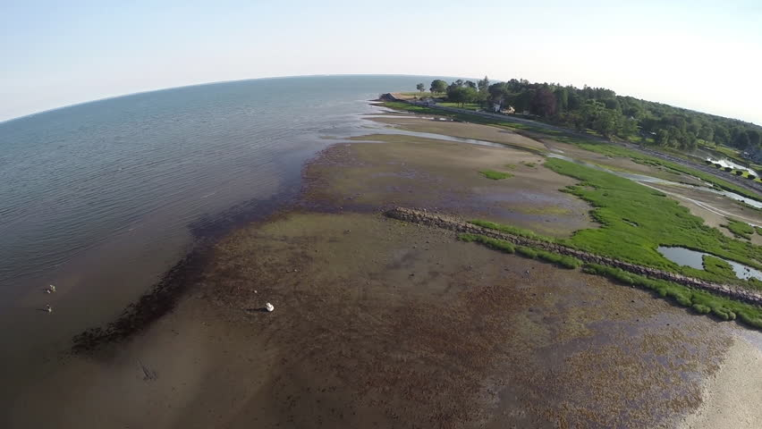New England beaches aerial beauty shot. Fairfield, Connecticut USA. Circa June 2014. - HD stock footage clip