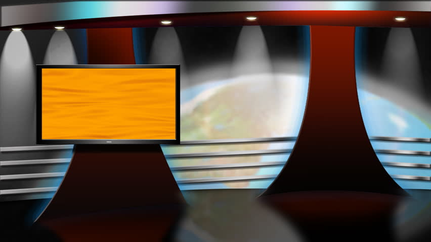 Virtual Studio Background set with animated earth revolving