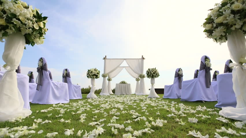 Dolly Of Rows Of Chairs At A Wedding Ceremony From The