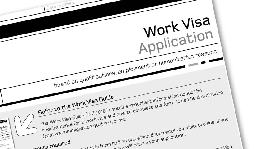 animation of work visa application document for temporary stay with Denied stamp  - HD stock footage clip