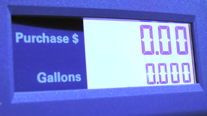 Gas prices climbing on station pump lcd screen  - HD stock footage clip