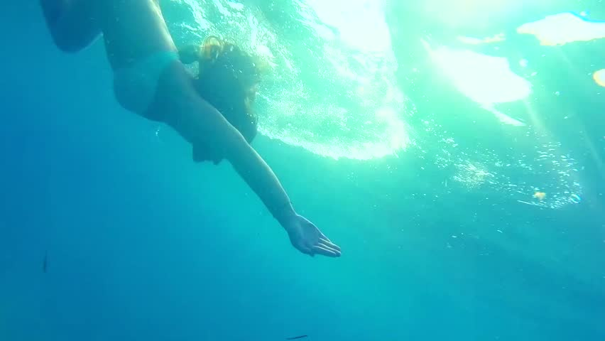 An under water view of a two young women swimming under a