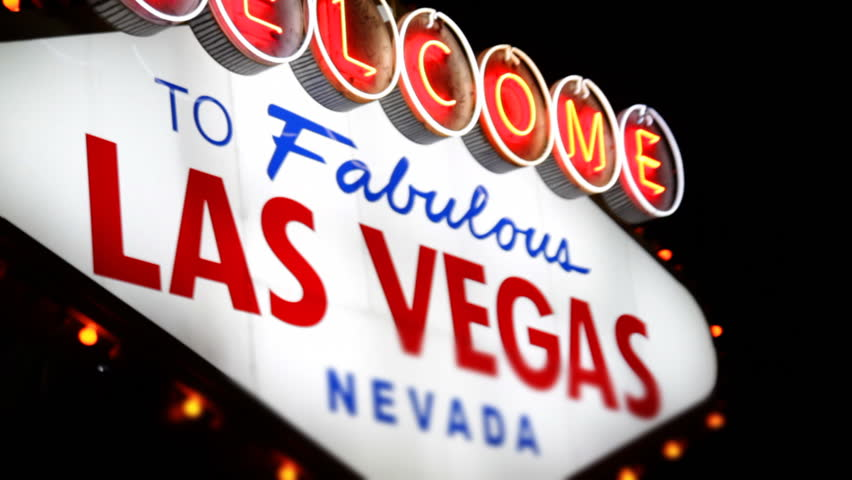 The Las Vegas welcome sign at night.