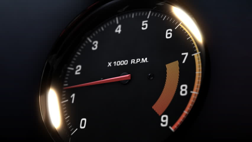 3d animation of tachometer indicating the varying engine RPM - alpha mask included