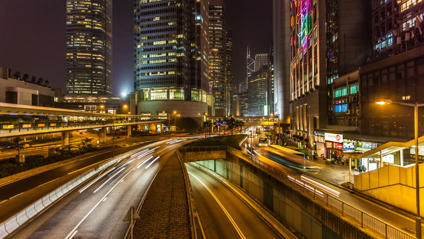 Traffic in Hong Kong at Night | Shutterstock HD Video #7207105