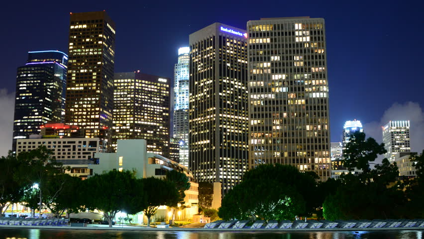 Time Lapse of Scenic Downtown Los Angeles at Night with Clouds - Circa 2014 | Shutterstock HD Video #7212163