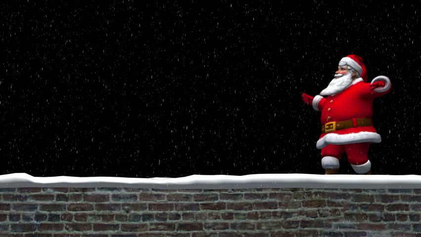 Santa Claus walking on wall waving with Merry Christmas text