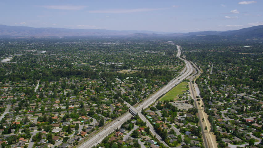 Aerial view of California road highway, freeway. Silicon Valley, San Francisco, California, United States of America. | Shutterstock HD Video #7215799
