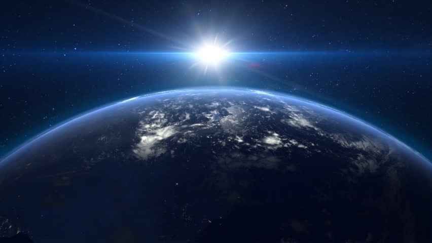 Wallpaper Earth Above Space Hd Space 6408: Beautiful Sunrise Over The Earth. Cities At Night. HD 1080