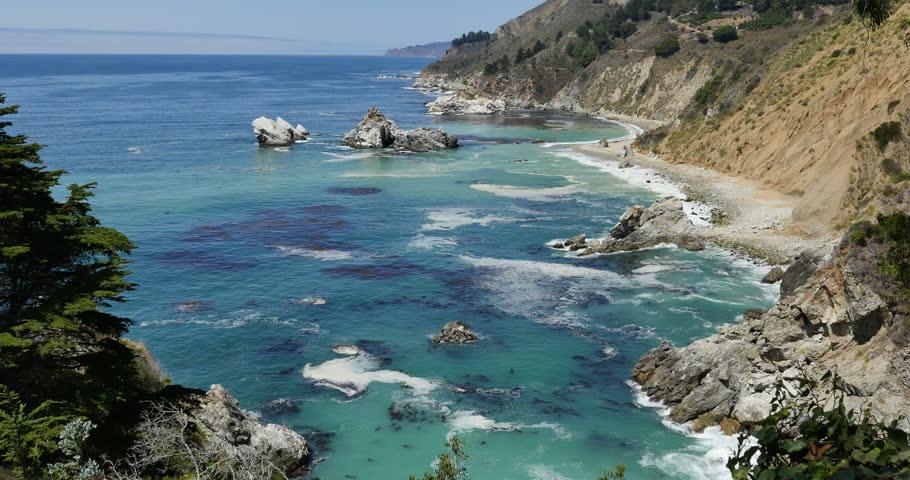 Big Sur McWay Falls Dolly 08 R Pacific Coast California - 4K stock footage clip