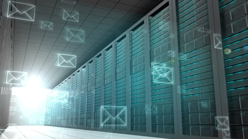 Digital animation of Email graphics in server room | Shutterstock HD Video #7264093