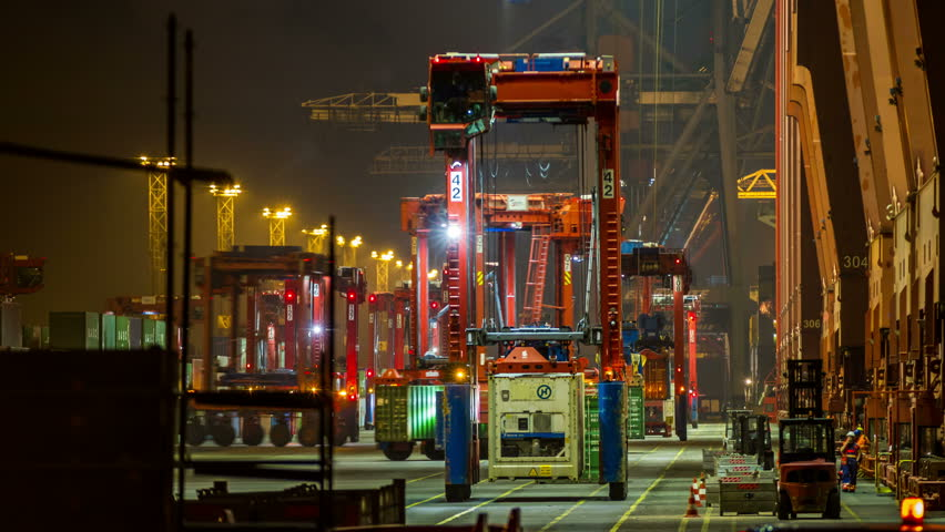 Hamburg Harbor Terminal with loading container on ship - DSLR time lapse | Shutterstock HD Video #7301659