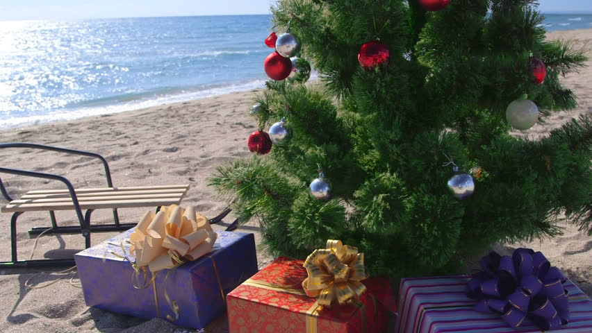 Dolly: Christmas holidays on the beach resort background - HD stock footage clip