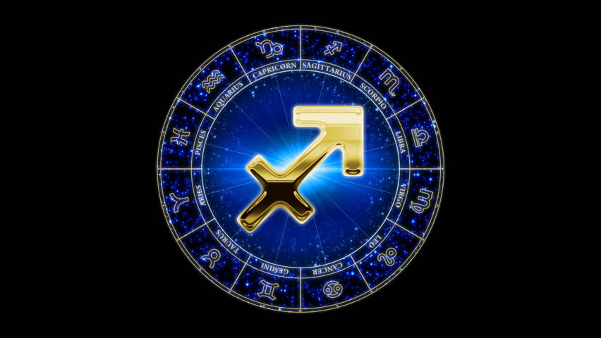 Sagittarius zodiacal symbol on constantly zooming starry background. Loop-able. Has mask. - HD stock footage clip