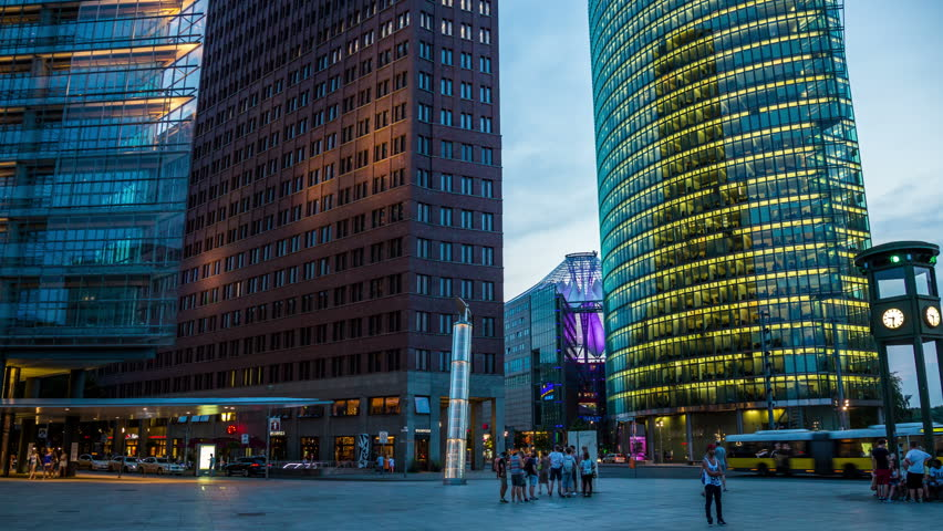 Berlin Potsdamer Platz in the evening - DSLR hyperlapse | Shutterstock HD Video #7311379