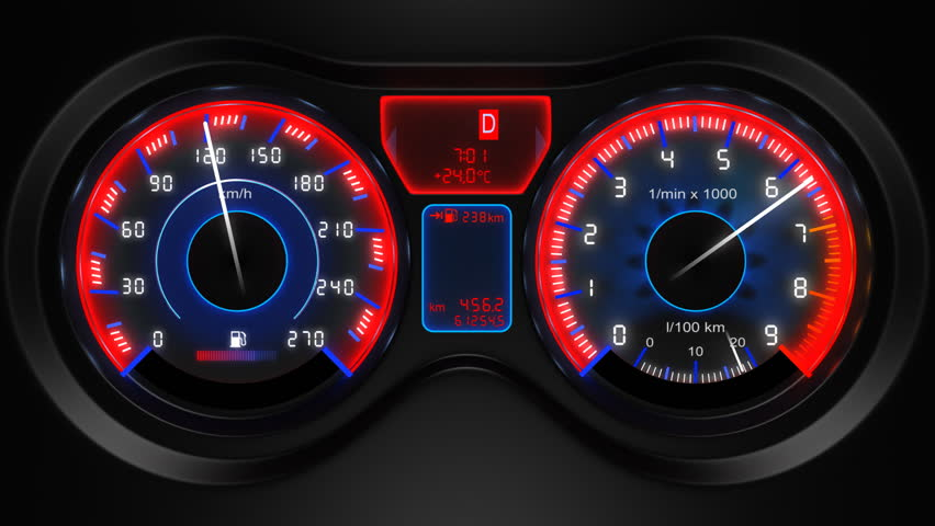 car dashboard, 3d animation, with sound - HD stock video clip