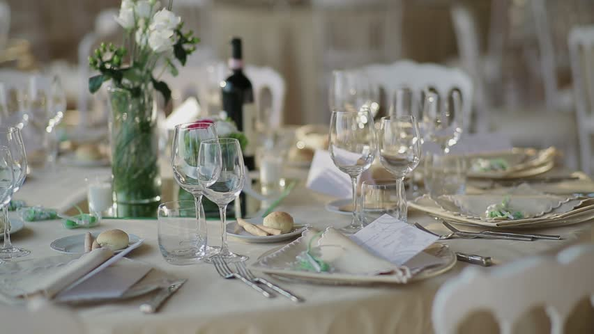 Empty glasses on table beautiful decorated in restaurant panorama stock footage video 2076281 - Mise en place table restaurant ...