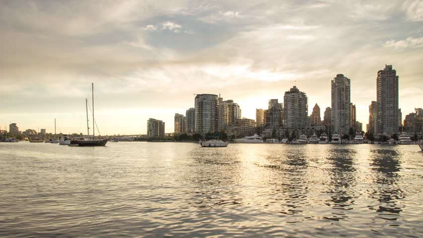 Time lapse of Sunset time at False Creek, Vancouver, BC, Canada.
