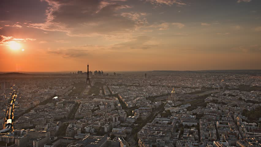Paris skyline aerial day to night timelapse at the sunset to night city lighting up sparking eiffel tower panorama from montparnasse 4k  | Shutterstock HD Video #7354156