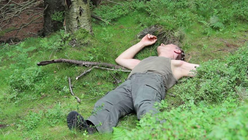 dead sick  drunk man lies   ground