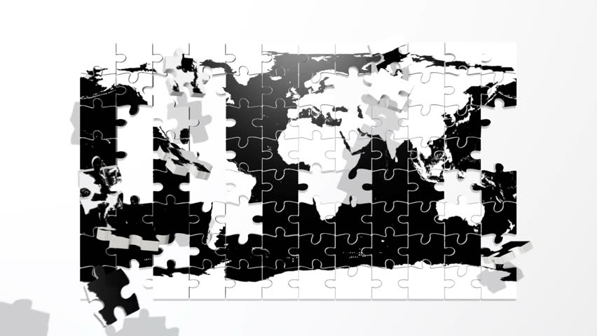 Earth puzzle in Black and White