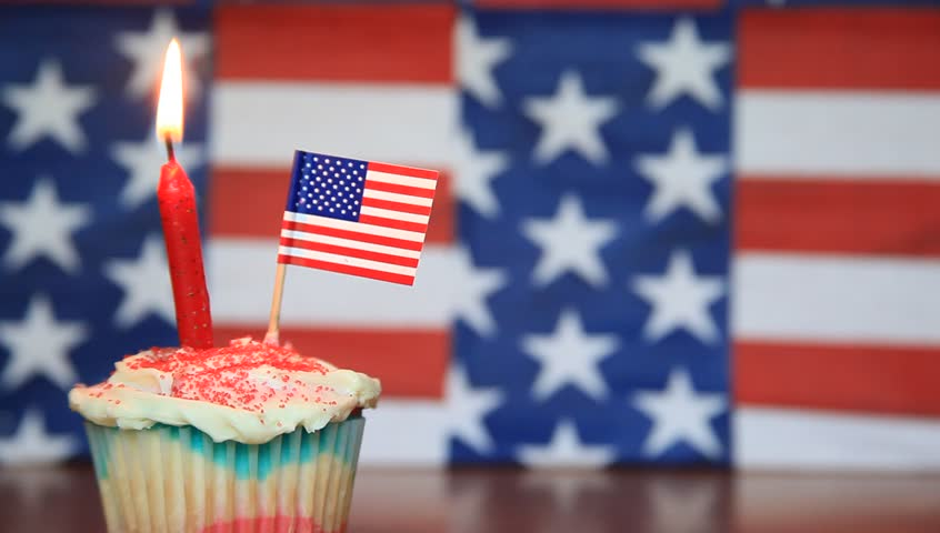 American Cake With Birthday Candle And Stars And Stripes