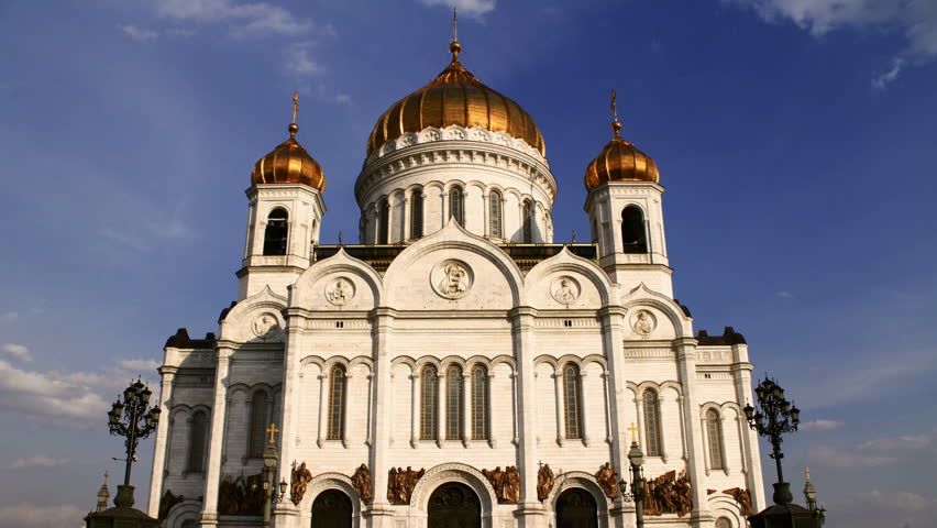 Christ the Savior Cathedral. Moscow.  High quality Footage - Original Size 4k (4096x2304).  Time Lapse - HD stock footage clip