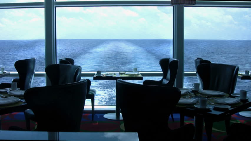 Fine dining at the back end of a cruise ship on the Caribbean ocean