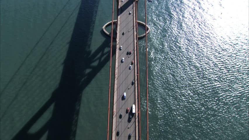 Aerial view of traffic on Golden Gate Bridge, San Francisco, USA #740101