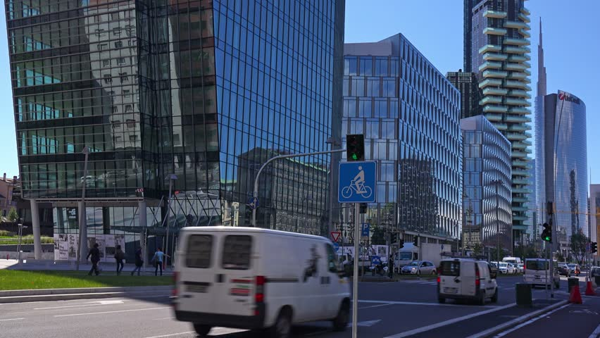 Italy, Milan, modern office buildings on viale della Liberazione. - 4K stock video clip